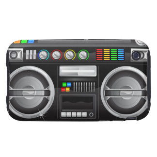 retro rainbow buttons boombox ghetto blaster tough iPhone 3 case