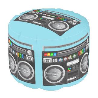 retro rainbow buttons boombox ghetto blaster round pouf