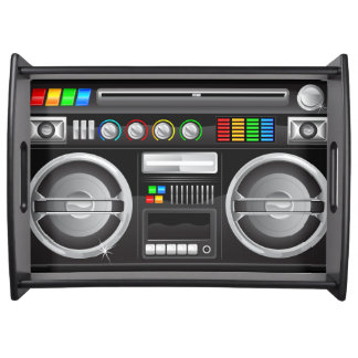 retro rainbow buttons boombox ghetto blaster service trays