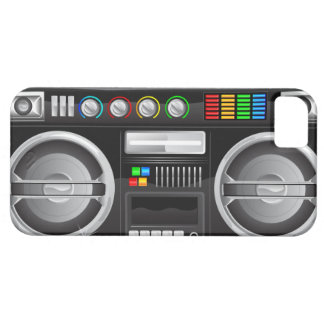 retro rainbow buttons boombox ghetto master iPhone 5 cover