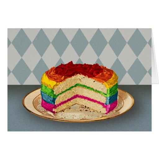 Retro Rainbow Cake Greeting Card