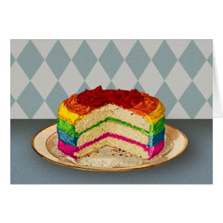 Retro Rainbow Cake Greeting Card