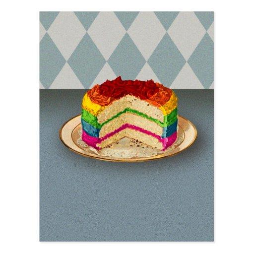 Retro Rainbow Cake Post Cards