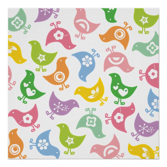 Retro Rainbow Chicks Colour Fun Custom Poster