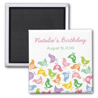 Retro Rainbow Chicks Custom Gift Birthday Magnet