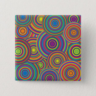 Retro Rainbow Circles Pattern 15 Cm Square Badge