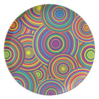 Retro Rainbow Circles Pattern Dinner Plates
