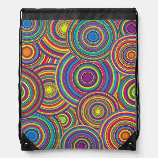 Retro Rainbow Circles Pattern Drawstring Backpack