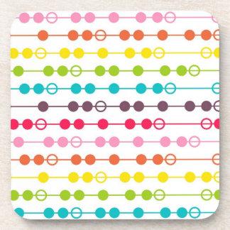 Retro Rainbow Circles Pattern Drink Coasters