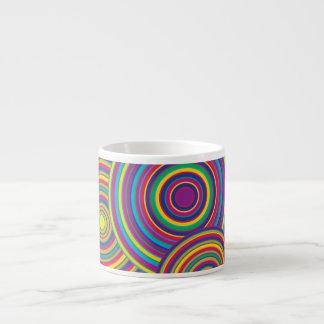 Retro Rainbow Circles Pattern Espresso Mugs