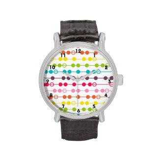 Retro Rainbow Circles Pattern Wrist Watches