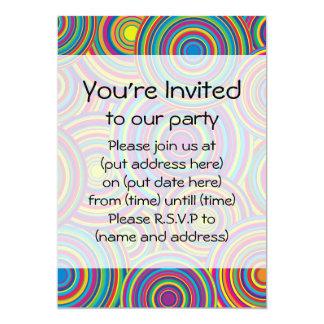 Retro Rainbow Circles Pattern Personalized Invites
