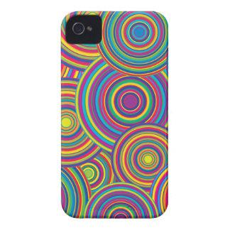 Retro Rainbow Circles Pattern iPhone 4 Covers