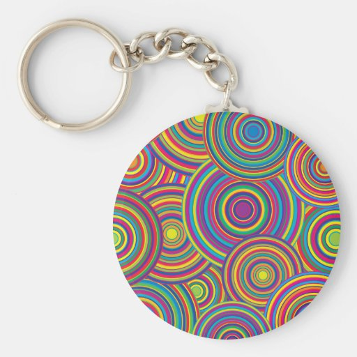 Retro Rainbow Circles Pattern Key Chains