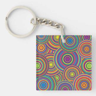 Retro Rainbow Circles Pattern Acrylic Keychain
