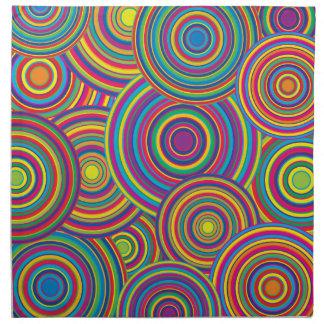 Retro Rainbow Circles Pattern Napkin