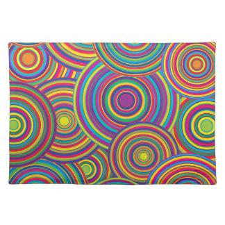 Retro Rainbow Circles Pattern Placemat