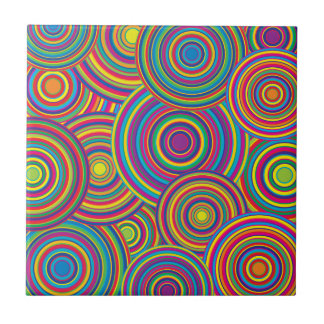 Retro Rainbow Circles Pattern Tile
