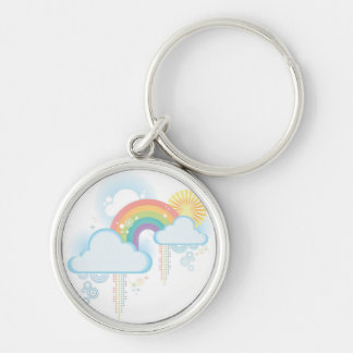 Retro Rainbow Design - Pastel Silver-Colored Round Key Ring