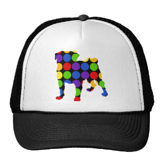 Retro Rainbow Dots and Circles Pug Trucker Hat
