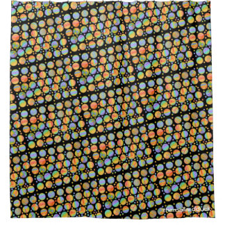 Retro Rainbow Dots Shower Curtain
