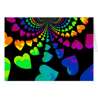 Retro rainbow hearts blank all occasion card