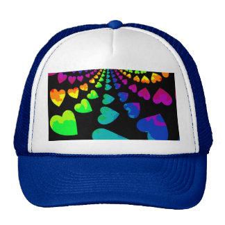 Retro rainbow hearts cap