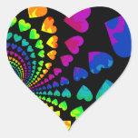 Retro rainbow hearts on black