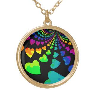 Retro rainbow hearts on black gold tone round pendant necklace
