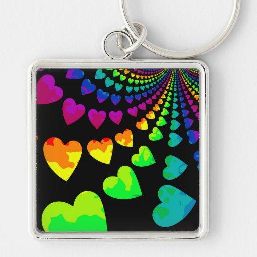 Retro rainbow hearts on black keychains