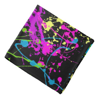 Retro Rainbow of Neon Paint Splatters on Black Bandannas
