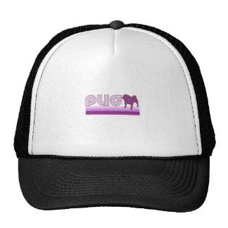 Retro Rainbow Pug in Purple Trucker Hats