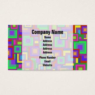 Retro Rainbow Squares Pattern Business Card