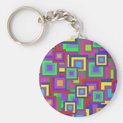 Retro Rainbow Squares Pattern Key Chains