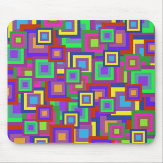 Retro Rainbow Squares Pattern Mousepad