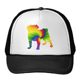 Retro Rainbow Tie Dye Pug Trucker Hats