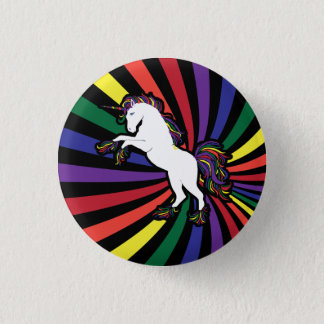 Retro Rainbow Unicorn 3 Cm Round Badge