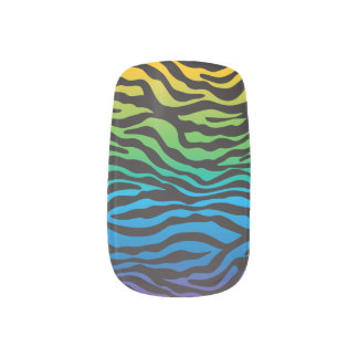 Retro Rainbow Zebra Print Custom Nails Sticker