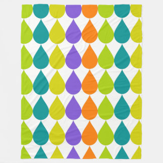 Retro Raindrops3 Fleece Blanket