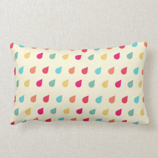 Retro Raindrops Pastel Pattern Lumbar Pillow