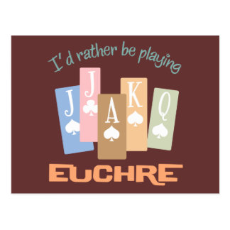 Retro Rather Play Euchre Post Card