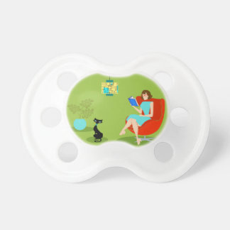 Retro Reading Woman Baby Pacifier