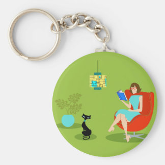 Retro Reading Woman Button Keychain