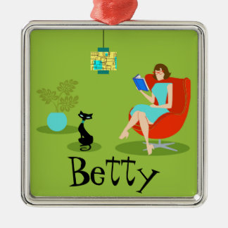 Retro Reading Woman Christmas Ornament