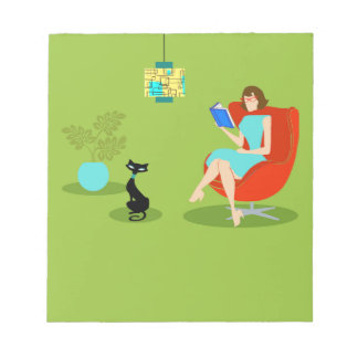 Retro Reading Woman Notepad