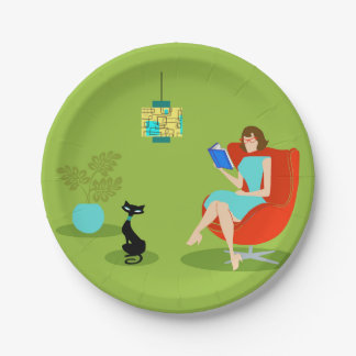 Retro Reading Woman Paper Plate 7 Inch Paper Plate