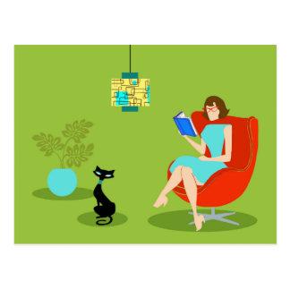 Retro Reading Woman Postcard