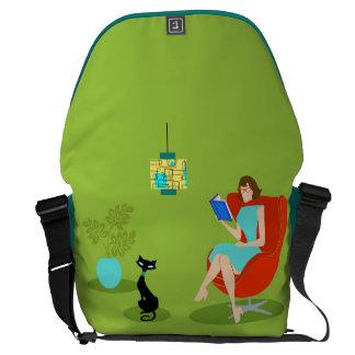 Retro Reading Woman Rickshaw Messenger Bag