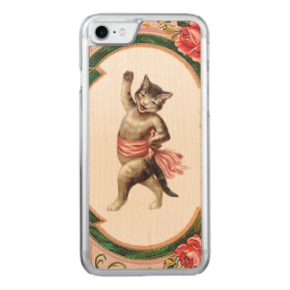 RETRO REBEL Kitty Cabaret  iPhone 5/5S Slim Wood Carved iPhone 8/7 Case
