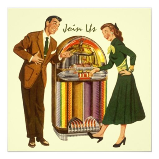 Retro Record Hop Sock Hop Jukebox Music Invitation